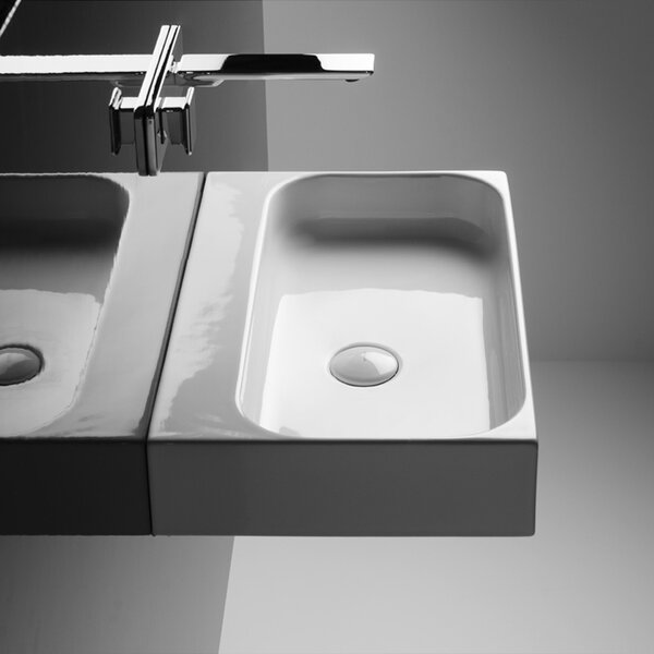 Unit Ceramic 24 Wall Mount Bathroom Sink with Overflow by WS Bath Collections