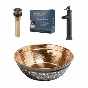 Bardeen Metal Circular Vessel Bathroom Sink with Faucet Sinkology