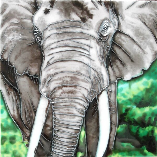 Gray Elephant Tile Wall Decor by Continental Art Center