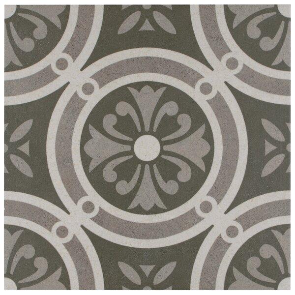 Annata 9.75 x 9.75 Porcelain Field Tile in White/Dark Gray by EliteTile