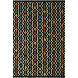 Reviews Rucker Handwoven Wool Black Area Rug ByWorld Menagerie