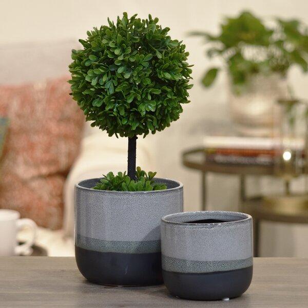 Shira 2-Piece Stoneware Round Pot Planter Set by Ivy Bronx