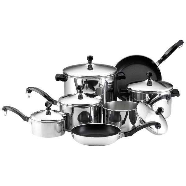 Classic Stainless Steel 15 Piece Cookware Set by Farberware