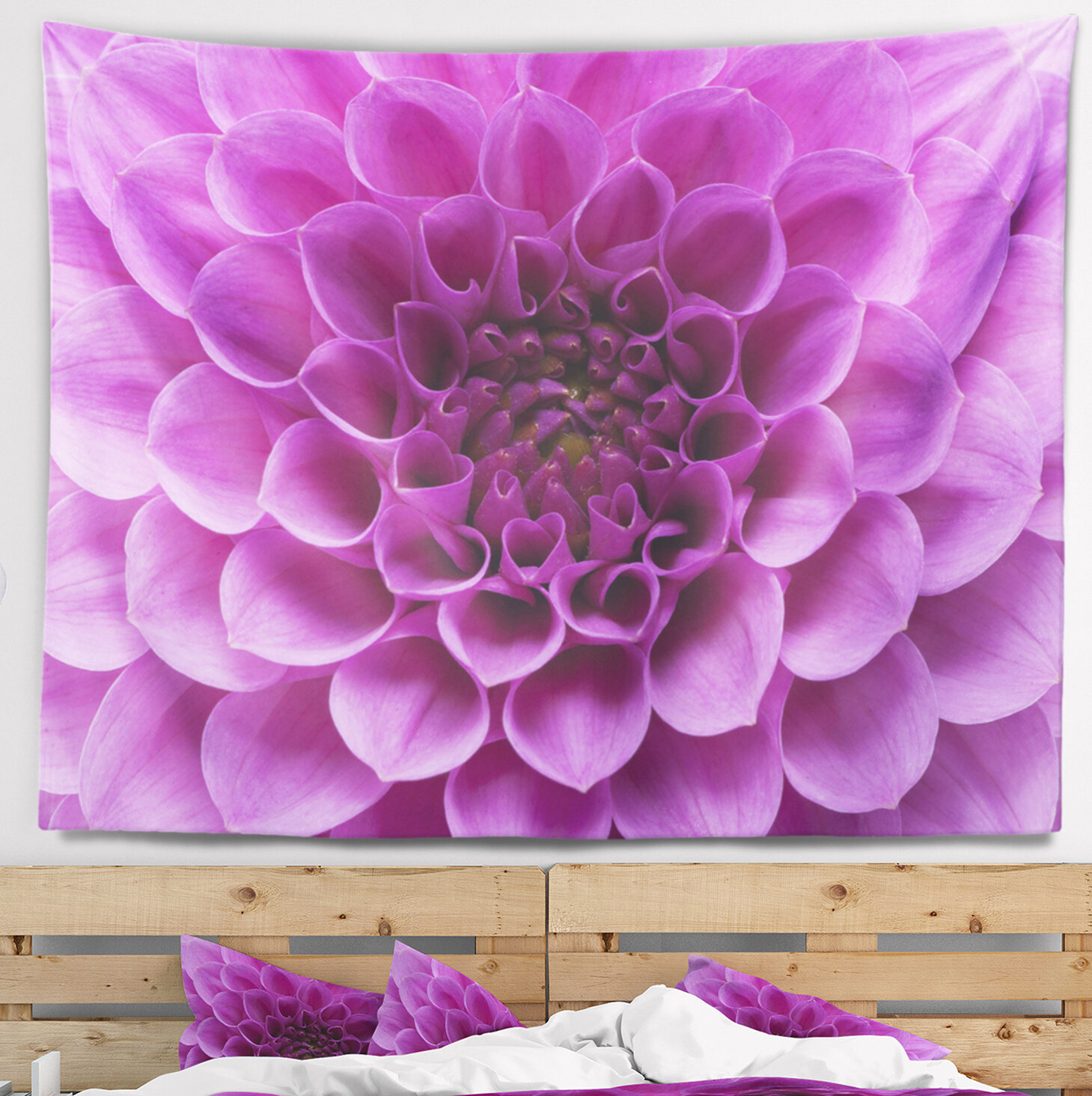 East Urban Home Floral Large Light Purple Flower And Petals Tapestry