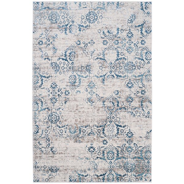 Spence Power Loomed Blue/Creme Area Rug by Union Rustic