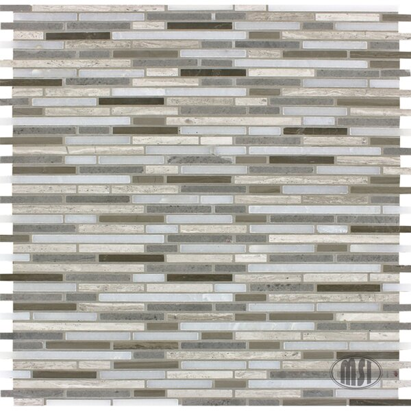 Arctic Storm Bamboo Random Sized Natural Stone Mosaic Tile in Gray by MSI