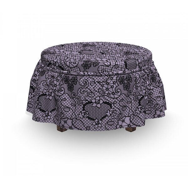 Gothic Feminine Victorian Motif 2 Piece Box Cushion Ottoman Slipcover Set By East Urban Home