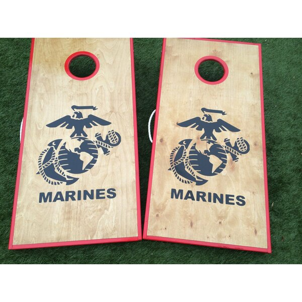 Stained Birch Marine Corps 10 Piece Cornhole Set by West Georgia Cornhole