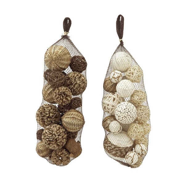 Dried Sola Decorative Ball Set (Set of 2) by Cole & Grey