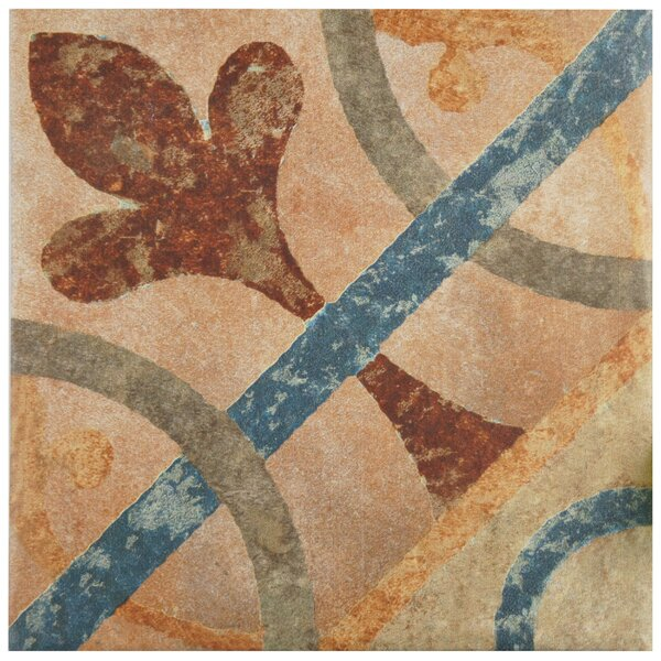 Lincoln 8.75 x 8.75 Porcelain Field Tile in Brown/Blue by EliteTile