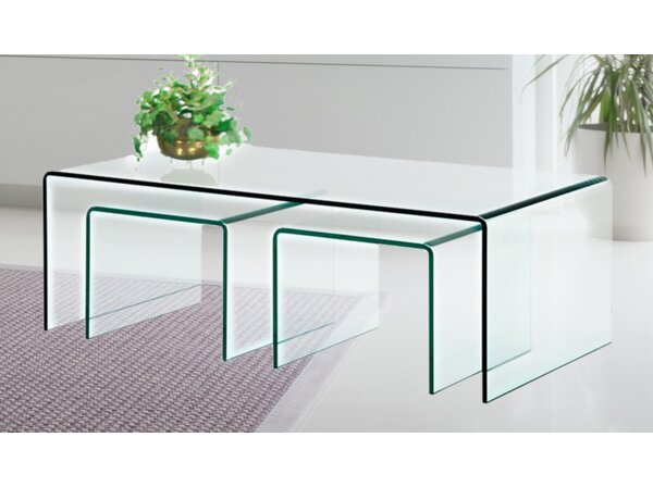 Clear Bent Glass 3 Piece Nesting Tables By House Of Hampton