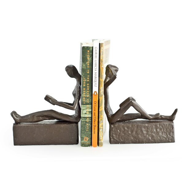 Man and Woman Reading Metal Bookends (Set of 2) by Mercury Row