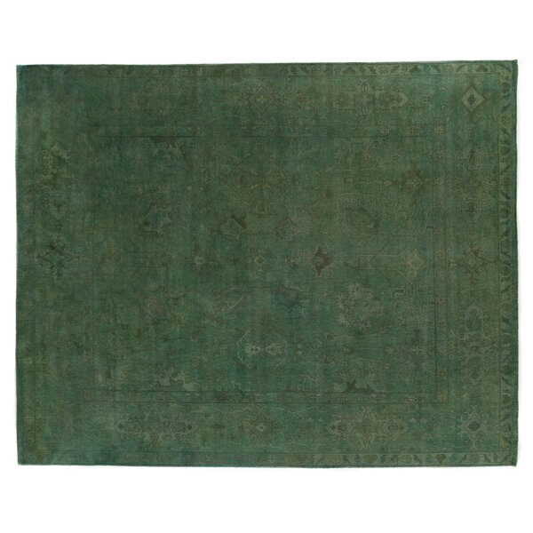 Overdyed Hand-Knotted Wool Green Area Rug by Exquisite Rugs
