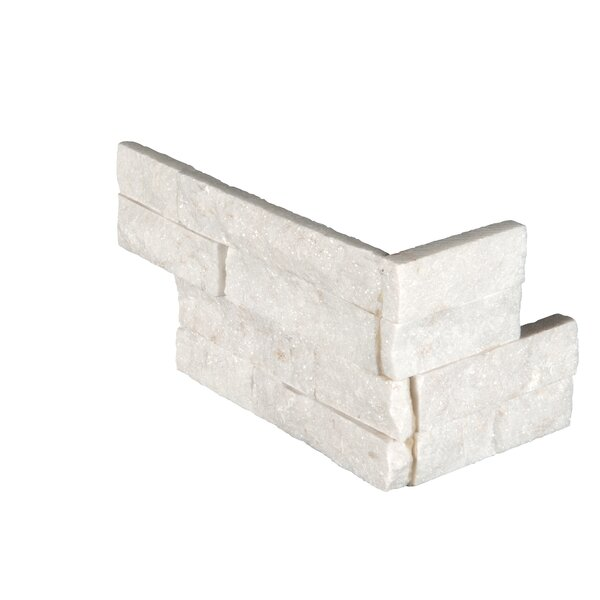6 x 18 Marble Splitface Tile in White by MSI