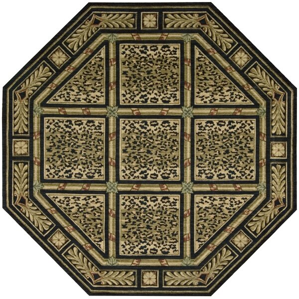 Anne Wool Green/Beige Area Rug by Bloomsbury Market