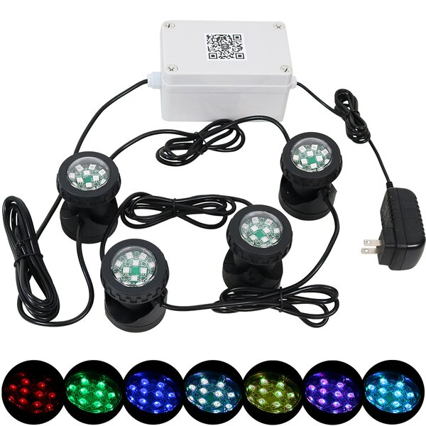 Dayse Wi-Fi Controlled Submersible LED Light (Set of 4) by Freeport Park