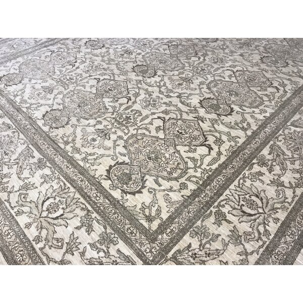 One-of-a-Kind Signature Sultanabad Hand-Knotted Beige 9'7 x 13'5 Wool Area Rug