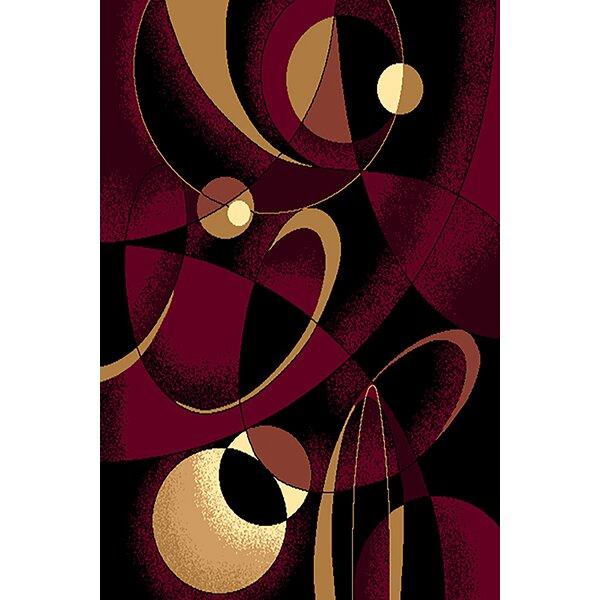Coston Burgundy/Black Area Rug by Ebern Designs