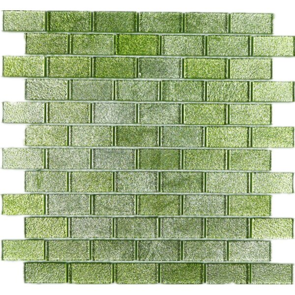 Wall Paper Underneath 1 x 2 Glass Mosaic Tile in Green Foil by Multile