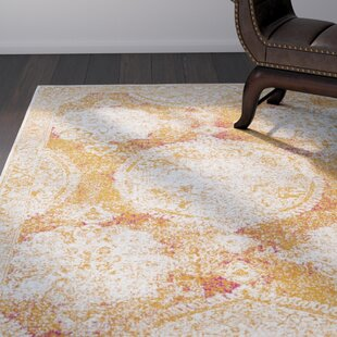Find for Arteaga Distressed Medallion Vintage Saffron/White Area Rug By Bungalow Rose