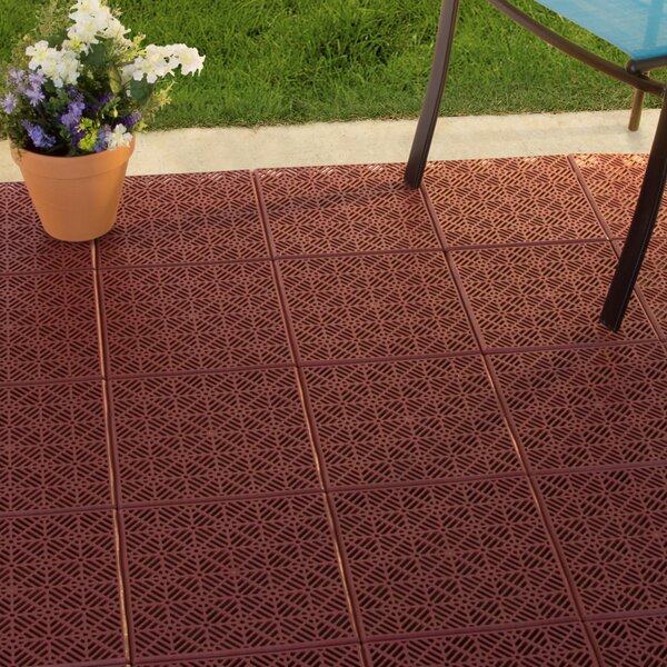 Patio 11.5 x 11.5 Plastic Interlocking Tile in Ter