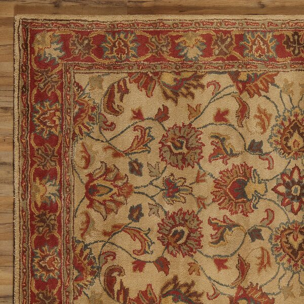 Arden Brick Hand-Woven Tufted Wool Red Area Rug by Birch Lane™