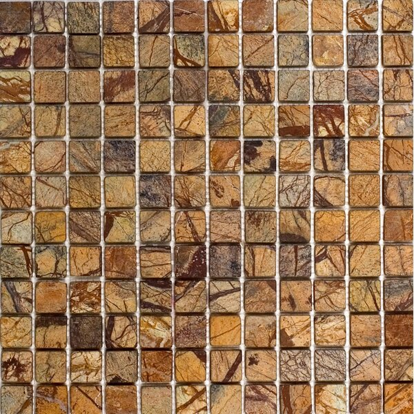 1 x 1 Marble Mosaic Tile in Rain Forest Brown by Epoch Architectural Surfaces