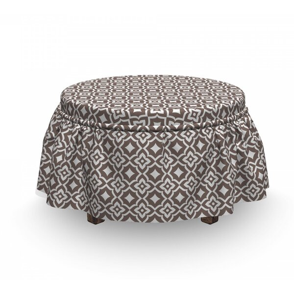 Outdoor Furniture Oriental Floral Ottoman Slipcover (Set Of 2)
