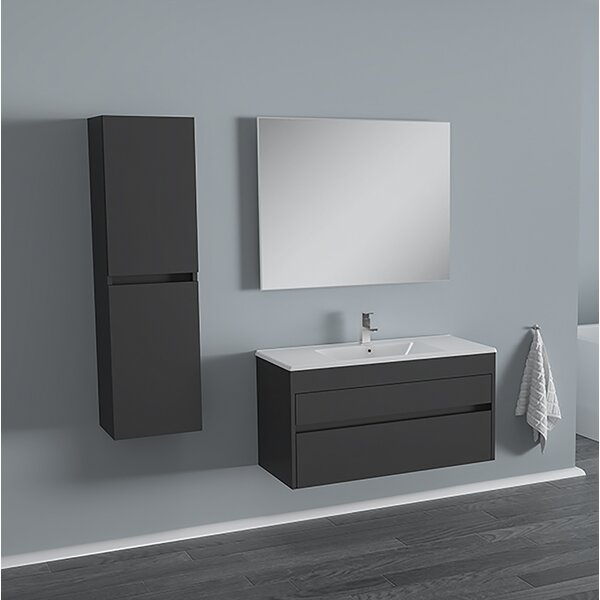 Whiteley 26 Wall-Mounted Single Bathroom Vanity Set with Mirror (Set of 3) by Orren Ellis