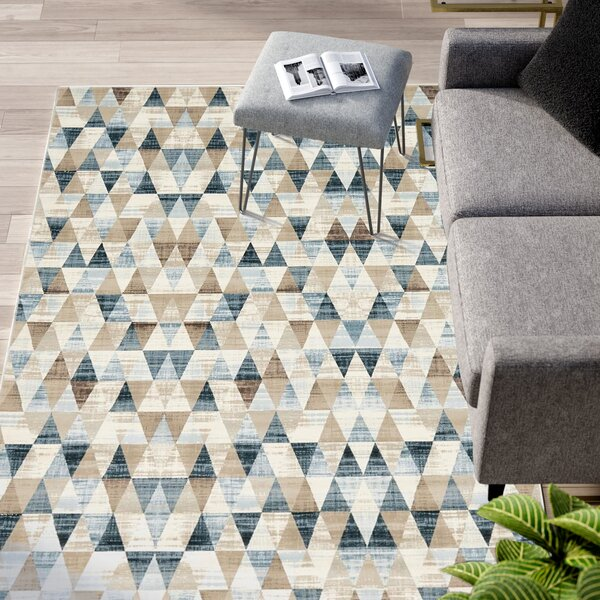 Brayden Beige/Blue Area Rug by Mercury Row