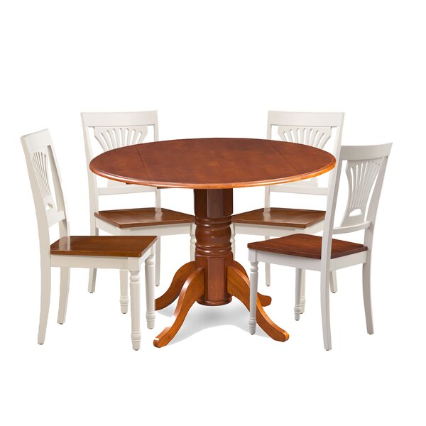 Brenton 5 Piece Drop Leaf Breakfast Nook Solid Wood Dining Set by Charlton Home
