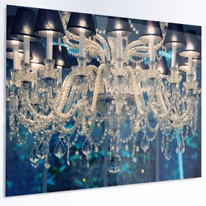 'Blue Vintage Crystal Chandelier' Photographic Print on Metal by Design Art