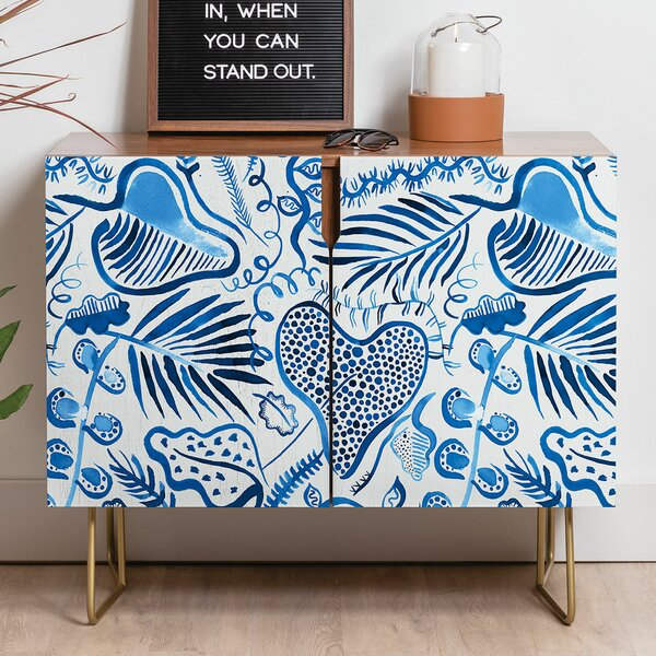 Ninola Tropical Forest Leaves Credenza by East Urban Home East Urban Home