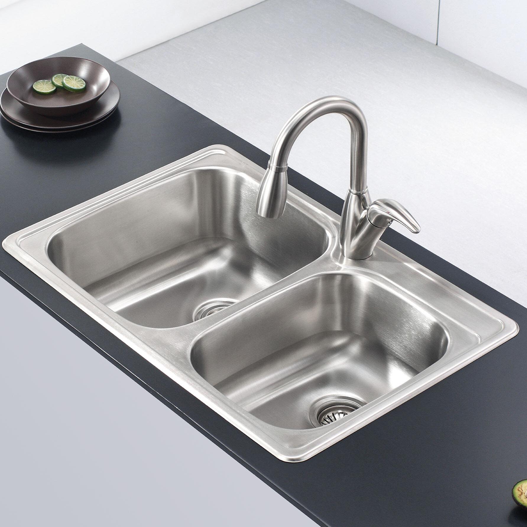 Kraus stainless steel 33 l x 22 w double basin drop in kitchen sink reviews wayfair