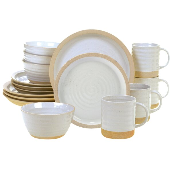 Abree Artisan 16 Piece Dinnerware Set, Service for 4 by Highland Dunes