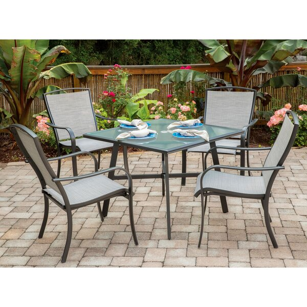Wrenn 5-Piece Commercial-Grade Patio Dining Set with 4 Sling Dining Chairs and a 38 inch  Square Glass-Top Table by Charlton Home
