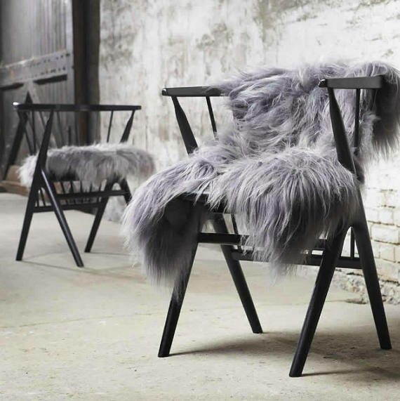 Huitt Long Haired Hand-Woven Sheepskin Gray Area Rug by Mercer41
