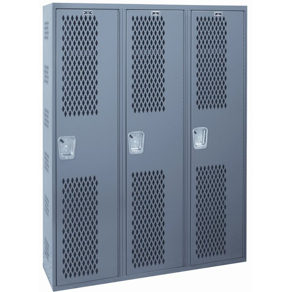 Welded 1 Tier 3 Wide Gym Locker by Hallowell