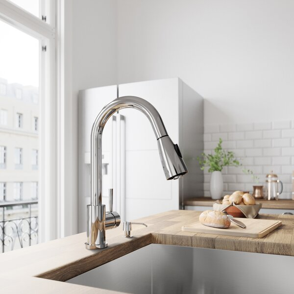 Weston Pull Down Single Handle Kitchen Faucet with Optional Soap Dispenser by VIGO