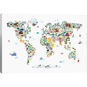 'Animal Map of the World' Graphic Art Print by East Urban Home