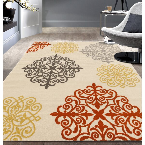 Newport Cream/Red Area Rug by World Rug Gallery