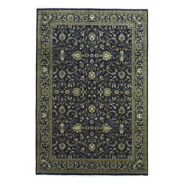 One-of-a-Kind Slagen Oriental Floral Hand Woven Wool Navy Area Rug by Isabelline