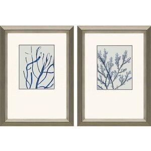 'Indigo Coral II' 2 Piece Framed Graphic Art Set (Set of 2) by Beachcrest Home