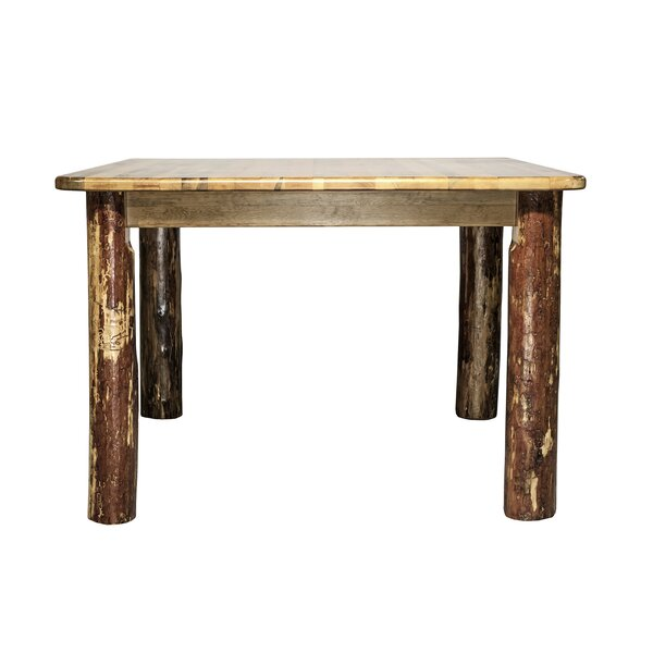 Tustin 4 Post Square Solid Wood Dining Table by Loon Peak