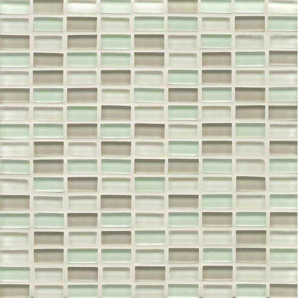 Harbor Glass Mosaic Mini Brick Blend Gloss Tile in Breeze by Grayson Martin