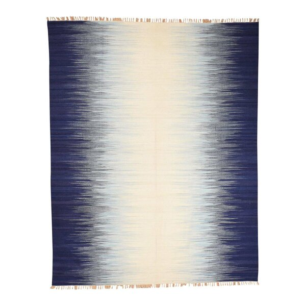 One-of-a-Kind Drews Flat Weave Ocean Burst Kilim Oriental Hand-Knotted Blue Area Rug by World Menagerie