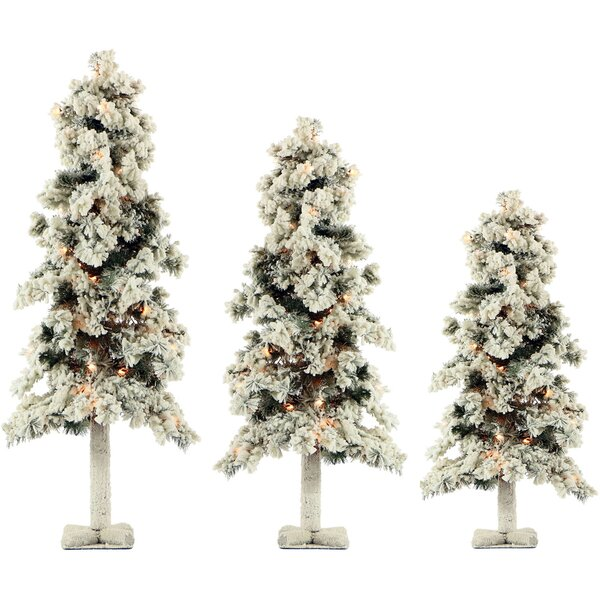 Snowy Alpine 3 Piece Evergreen Pine Artificial Christmas Tree Set with 185 Clear Lights by The Holiday Aisle