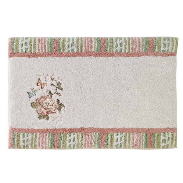 Culbreth Butterfly Shower Rectangle 100% Cotton Non-Slip Floral Bath Rug