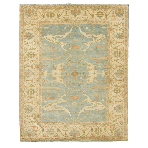 Oushak Hand-Knotted Wool Blue/Ivory Area Rug by Exquisite Rugs