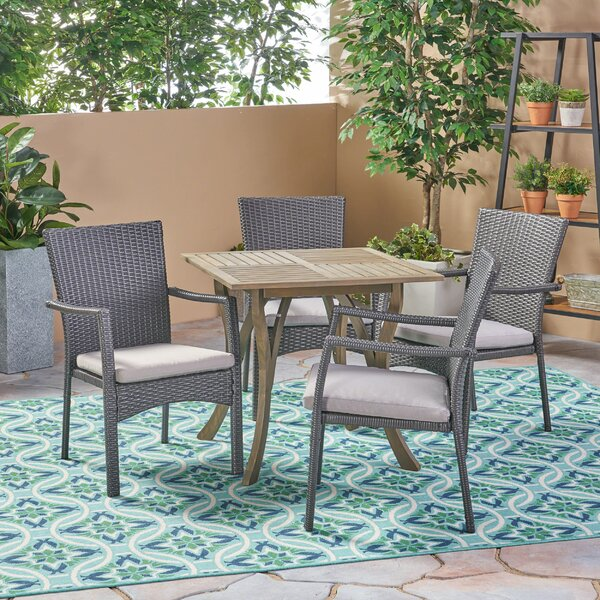 Hochstetler Outdoor 5 Piece Dining Set with Cushions by Bungalow Rose